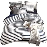 Hibertex Jersey Quilt Cover Set,100% Cotton Jersey Weave Stripe Doona Cover Set,3 Pieces (1 Quilt Cover with 2 Pillowcases)-Q