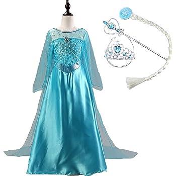 9ff995bb847b9 アナと雪の女王 Frozen エルサ 風 ドレス 4点セット (ワンピース おさげ