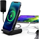 Poplartrees Fast Wireless Charger 4 in1, Charging Station with 18W PD Quick Charge USB-C Port,Compatible with iPhone 12pro/11