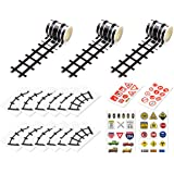DS. DISTINCTIVE STYLE Road Tape 5 Meters DIY Reusable Railway Road Stickers Play Tape Road with Traffic Signs and Straight Cu
