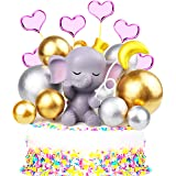 Mity rain 14 Pcs Pink Elephant Cake Topper - Cute Resin Baby Elephant, Gold Silver Pearl Balls & Pink Hearts Cake Picks for I