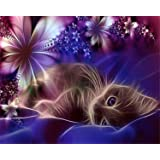 Diamond Painting Kit, Full Drill 5D DIY Rhinestone Embroidery Cross Stitch Arts Craft for Home Wall Decor Cat 12x16inch