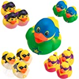 Superhero Ducks 2 Inches - Pack Of 12 ? Assorted Colorful Superhero Rubber Duckies - For Kids Great Party Favors Bag Stuffers