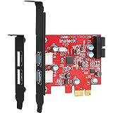 Inateck 2ポートUSB3.0増設ボードUASP対応 Low profile 内部19ピン付き 補助電源不要PCIex1 Rev.2用 KT4006