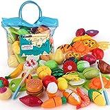 SONiKi Cutting Toys Pretend Food Fruits Vegetable Playset Educational Learning Toy Kitchen Play Food for Boy Girl Kid (Handba