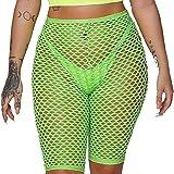 Womens Beach Fishnet Mesh See Through 3/4 Leggings Cycling Short Hot Pant