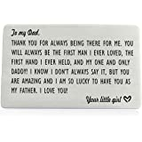 Dad Gifts from Daughter, Engraved Wallet Inserts for Father Papa, Fathers Day Birthday Wedding Thank You Gifts for Daddy from