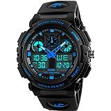 Kids Digital Sport Watch, Boys Outdoor Waterproof Analog Quartz Watch with Alarm LED Military Wristwatches for Children