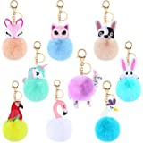 9 Pieces Animal Pom Pom Keychain Cute Faux Fur Key Ring for Women Girls Bag Accessories