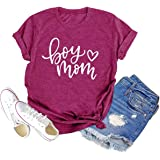 Boy Mom Shirt for Women Graphic Letter Printed Tops Tee Funny Cute Short Sleeve Mama Shirt Mother Gifts Tee