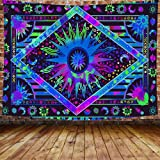 DBLLF Blue Vilolet Burning Sun Tapestry Celestial Sun Moon Tapestry Wall Hanging Boho Tapestry Hippie Hippy Tapestry Wall Dec