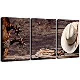 DVQ ART 3 Pieces Wall Art for Bedroom Eiffel Tower Wall Art Picture Shell Canvas Artwork for Living Room Decor, Cowboy Wall A
