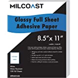 "Milcoast Full Sheet 8.5"" x 11"" Shipping Sticker Paper Adhesive Labels Glossy for Laser or Inkjet Printer (100 Full Sheet)"