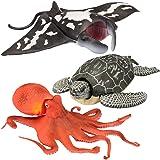 "Kid Galaxy 9"" Poseable Ocean Action 3 Pack - Sea Animal Edition (Turtle, Manta Ray, Octopus)"