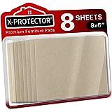 "X-PROTECTOR 8 Pack Premium Felt Furniture Pads 8""x6"" HEAVY DUTY 1/5"" Felt Sheets! Cut Furniture Felt Pads for Furniture"