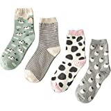 Searchself Women's Funny Cute Animal Design Casual Socks (Pack of 4)