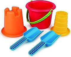 Hape E4053 5-In-1 Beach Set (5 Pieces),Multicolor,L: 8.1, W: 9.8, H: 7.5 inch