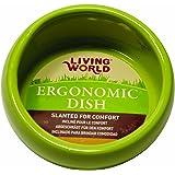 Living World Ceramic Ergonomic Pet Dish 120 ml Capacity, Green Small