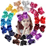 15Pcs Bling 6 Inch Hair Bows Large Big Sparkly Glitter Sequin Bows Alligator Hair Clips for Baby Girls Toddlers Kids Children