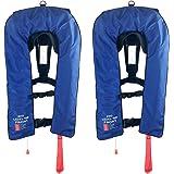 2 x Inflatable Life Jacket PFD Type 1 Level 150 - Blue (Economy Version)