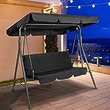 Gardeon Outdoor Garden Rocking Chair with Canopy-Black