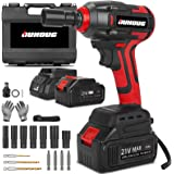 Cordless Impact Wrench, 1/2 Chuck Impact Driver/Drill/Screws with 3200RPM Variable Speed, Torque 300 ft-lbs,21V Lithium-Ion 4