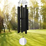 Sympathy Wind Chimes Outdoor Deep Tone,45Inch Large Wind Chimes Amazing Grace with 6 Big Heavy Tubes Tuned Soothing Low Bass,