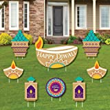 Big Dot of Happiness Happy Diwali - Yard Sign and Outdoor Lawn Decorations - Festival of Lights Party Yard Signs - Set of 8