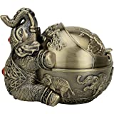 Vintage Decorative Windproof Ashtray with Lid for Cigarettes Metal Portable Cigar Ashtray Odor Indoor outdoor Hand Carved Fan