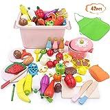 RUI YUE 42点おままごとセット、ままごとセット 100%天然木製 おままごとセット 磁石のおもちゃ 男の子と女の子 誕生日のプレゼント 祝日の贈り物 親子ゲーム こどものおもちゃ 野菜と果物の魚 (1)