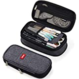 ANGOOBABY Canvas Pencil Case Pencil Pouch Makeup Bag for Students Office (Dark Grey)