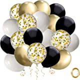 Black and Gold Confetti Balloons, 50 Pack 12inch White Latex Party Balloon Set with Gold Ribbon for Wedding Birthday Mother's