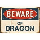 "StickerPirate Beware of Dragon 1 8"" x 12"" Vintage Aluminum Retro Metal Sign VS145"