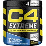 Cellucor C4 Extreme Pre Workout Powder Icy Blue Razz | Sugar Free Preworkout Energy Supplement for Men & Women | 200mg Caffei