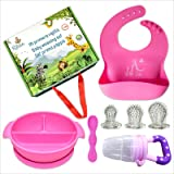 Ritalia Baby weaning Sets: Suction Plate or Bowl Waterproof Silicone Baby Bibs, Baby Spoon, Teething Toy or Fruit Feeder for