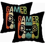 TOMKEY Hidden Zippered 16X16Inch Soft Game Controller case,Gamer Decorative Throw Cotton Pillow Case Cushion Cover for Home D