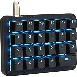 片手キーボード フルプログラム可能 メカニカルキーボード カスタマイズ自在 左手ゲーミングキーボード 23キー マクロキー RGBバックライト 片手 小型キーボード ショットカットキー プログラマー向き DIYキーボード (赤軸 ブルー(ブラック))