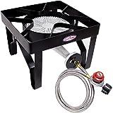 GasOne 200, 000 BTU Square Heavy- Duty Single Burner Outdoor Stove Propane Gas Cooker with Adjustable 0-20Psi Regulator & Ste