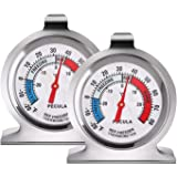 2 Pack Refrigerator Thermometer -30~30°C/-20~80°F, Classic Fridge Thermometer Large Dial with Red Indicator Thermometer for F