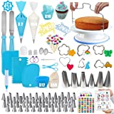 Cake Decorating Supplies Kit, Geioireny 219Pcs Cupcake Decorating Tools Kit with Non-Slip Cake Turntable-Piping Bags and 48 T