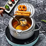 Homease Deep Fryer Japanese Style Tempura Fryer Pot with Thermometer and Oil Drip Drainer Rack for French Fries Shrimp Chicke