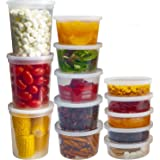 DuraHome Food Storage Containers with Lids 8oz, 16oz, 32oz Freezer Deli Cups Combo Pack, 44 Sets BPA-Free Leakproof Round Cle