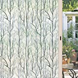 Dktie Static Cling Decorative Window Film Vinyl Non Adhesive Privacy FilmStained Glass Window Film for Bathroom Shower Door H