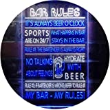 My Bar My Rules Man Cave Home Bar Beer Décor Dual Color LED Neon Sign White & Blue 300 x 400mm st6s34-i3414-wb