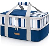 LUNCIA Lunch Bag Double Decker Insulated Casserole Carrier for Hot or Cold Food, Lasagna Holder Tote for Potluck Parties/Picn
