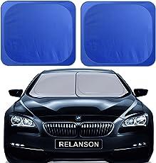 RELANSON自動車のフロントガラス用日除けカバーはサイズは89cmx79cmで、2枚あり、折りたためて、98% の紫外線を遮蔽できる高密度のオックスフォード布で作られ、車内では凉しさを保持でき、すべての車種に適しています