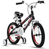 RoyalBaby Kids Bike Boys Girls Space No. 1 Aluminum 3-9 Years Old 12 14 16 18 Inch Training Wheels Kickstand Black Red Orange