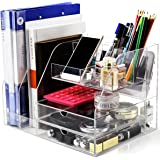 Clear Acrylic Desk Organizer for Office/School/Home Accessories Organization - Large Office Supplies Desktop Drawer Organiser