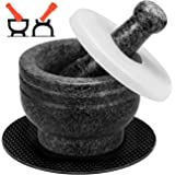 Tera Mortar and Pestle Set Polished Granite wth Lid, Double Ended, 2 Cup-Capacity, Natural Mortar and Pestle for Grinding Her