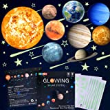 Glow in The Dark Stars and Planets, Bright Solar System Wall Stickers -Sun Earth Mars,Stars,Shooting Stars and so on,9 Glowin
